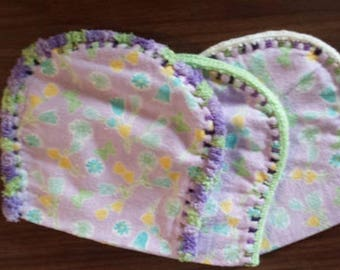 Crocheted Edge Baby Burp Cloth set of 3