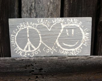 Small Rustic Wood Peace Love and Happiness Sign