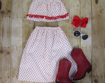 Toddler Girl Red Pom-Pom Polkadot Maxi Skirt and Crop Top Set - 12/18m, 2T, 3T, 4/5, 6/6X
