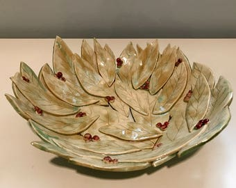 One of a kind large handbuilt pottery bowl of leaves and berries
