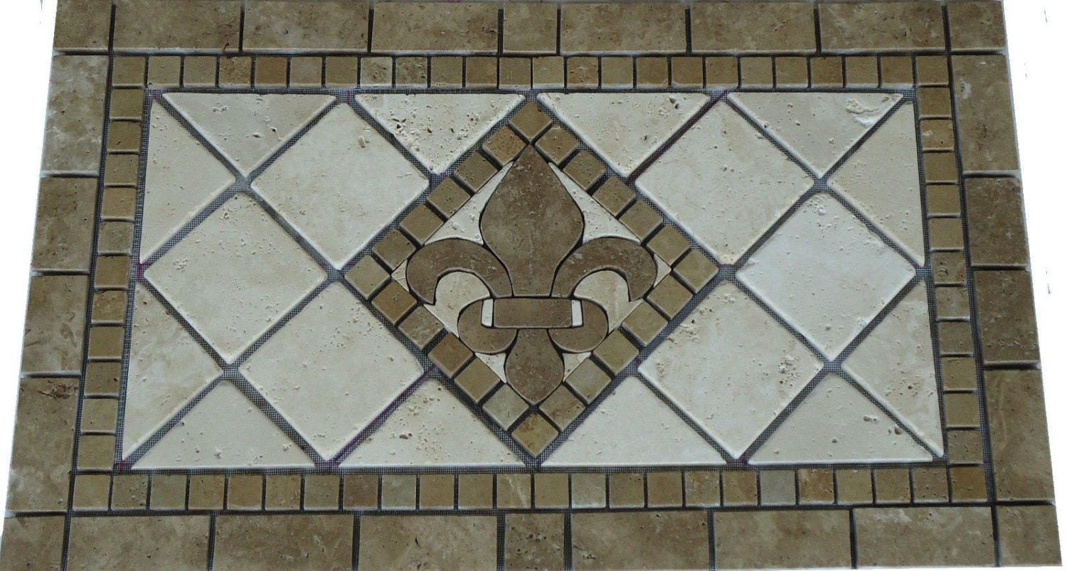 noce brown fleur dis lis mosaic marble medallion backsplash