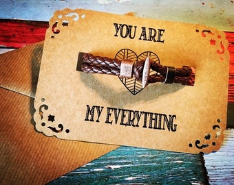 Mens Leather Bracelet/Anniversary Gift Leather/Mens Gift/Valentines Gift For Him/Valentines Card/Gift for Husband/Leather