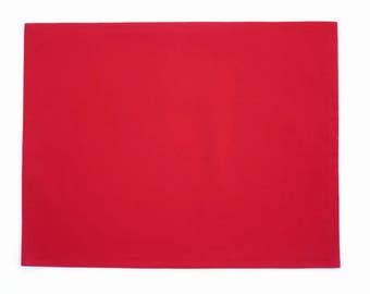 Red Cloth Placemats, Burgundy Cloth Placemats, Red Solid Placemats, Red Solid Dining Table Linens, Optional Matching Napkins, Set of 2