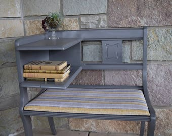Vintage Mid Century Telephone Chair ~ Telephone Table Bench ~Gossip Bench ~ Shabby Chic Gray Accent Entry Bench
