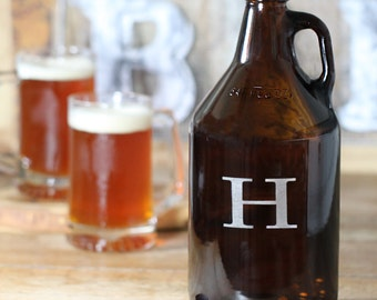 64 oz. Amber Glass Beer Growler with Single Initial (e156-1105) - Free Personalization