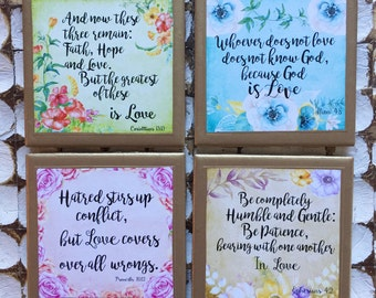 COASTERS!! Gorgeous biblical love quote coasters with  gold trim