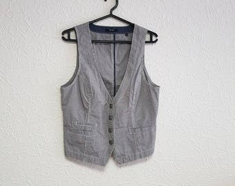 Vintage womens Vest checkered 90s Vintage SIZE 38/12 metal buttons