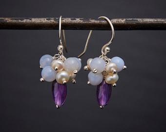 Amethyst Drops, Amethyst Cluster Earrings, Gemstone Clusters, Pretty Earrings, Birthstone, Freshwater Pearl, Chalcedony, Sterling Silver