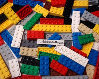 30 Lego 2-Stud Wide Flat Plates and Bricks - Assorted lengths and colors - Bulk Lego Lot