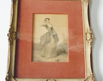 Portrait of a Victorian Woman / Beautiful Frame and Velvet Matted Image of a Woman / Feminine Decor