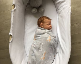 Baby Flannel Wrap - Flannel Swaddle - Bunny Tails