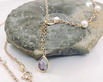 Amethyst Y chain, necklace, pearl, 9K rose gold