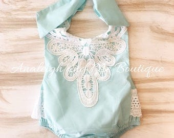 Aqua Baby Romper, Aqua and Lace Baby Romper, Aqua and White Romper, Lace Baby Romper, Lace Girls Romper, Aqua Girls Romper