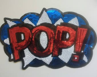 POP Cartoon Sequin Applique Large Sequin Patch Motif Novelty Applique Red White Blue