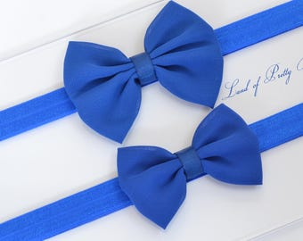 Royal Blue Bow Headband Baby Blue Hair Bow Royal Blue Headband Chiffon Hair Bow Newborn Royal Blue Headband Fabric Hair Bow