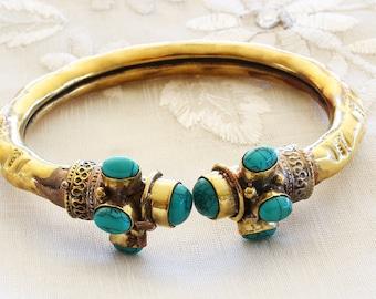 Victorian Etruscan Revival 10K Gold Filled Turquoise Vintage Bangle