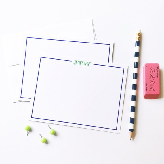 Men's personalized notecards, Personalized stationery set, flat notecards,  guys stationery, paper goods, custom cards