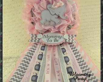 pink elephant mommy to be corsage pink and gray chevron girl elephant baby shower mommy badge