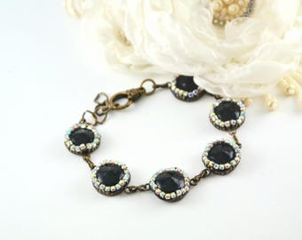 black bracelet beaded bracelet brass bracelet vintage bracelet vintage jewelry black jewelry round bead bracelet elegant bracelet