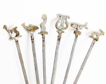 Vintage Figural BBQ Skewers, Set of 6, Shish Kabob Sticks, Animal Skewers, Vintage Grilling Barbecue Accessories, BBQ Skewers, Mid Century