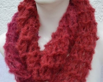 Loop Scarf Mohair wine red berry knitted