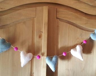Fleece and felt heart garland. Nursery garland. Baby shower gift. MADE TO ORDER