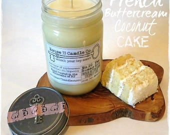 soy candle, No. 20 The Bunny Hut - French Buttercream Coconut Cake soy beeswax candle, infused with essential oils, all-natural organic