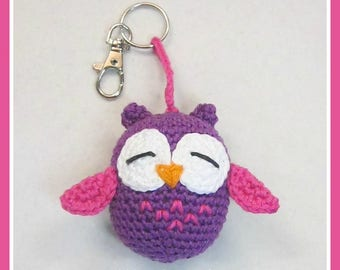 Crochet, crocheted, owl, key ring, crochet owl key chain, crochet owl key-ring, owl key-ring, bird key-ring