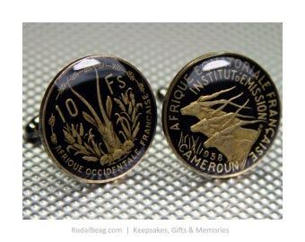 Enamelled Coin Cufflinks Vintage - Afrique Francais - 10 Francs - Africa - Antelope - France - Black Background & Natural Metal