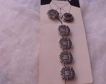 Nony New York / Metal Button Covers / LaBella Button Covers / Pewter-Looking Button Covers / Square Button Covers /Vintage Button Covers