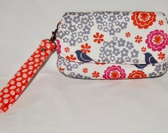 Wristlet, bird fabric wristlet, wallet, clutch, gifts for her, bridesmaid gift