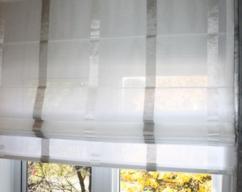 "Flat Sheer Roman Shade ""Rave Pearl"" with chain mechanism, Linen Roman Shades, Window Treatments, Ready to made"