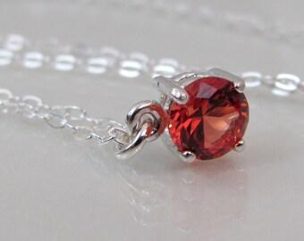 Orange Sapphire Pendant, Padparadscha Sapphire Necklace, 6mm Round Sapphire Gemstone, Lab Sapphire, Sterling Silver, Orange Sapphire Jewelry