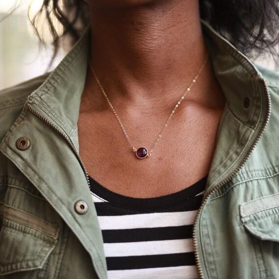 Amethyst Pendant, February Birthstone Necklace, Dainty Necklace Amethyst, Dainty Amethyst Necklace, Tiny Amethyst, Amethyst Jewelry February