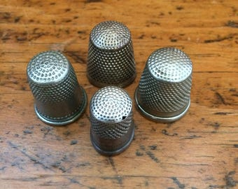 Antique Sterling Silver Thimbles set of 4
