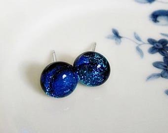 Dichroic Post Earrings, Blue Dichroic Post Earrings, Blue Glass Stud Post, Metallic Blue Studs, Dichroic Studs, Round Blue Glass Stud Posts