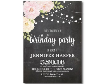 Floral Birthday Invitation, Chalkboard Birthday Invitation, Girl Birthday Invitation, Chalkboard, Floral Birthday Party Invitation #CL194
