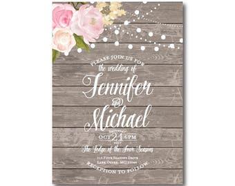 Rustic Wedding Invitation, Country Chic, Fall Wedding, Rustic Wedding, Floral Wedding, Printable Invitation, Digital Invitation #CL138