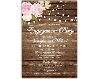 Engagement Party Invitation Template, DIY Engagement Invite, Cheap Invitation, Floral Invitation, INSTANT DOWNLOAD Microsoft Word #CL102