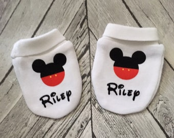 Personalised Mickey Mouse Inspired Baby Scratch Mitts