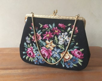 Vintage Floral Hand Embroidered Mantessa Purse from Hong Kong
