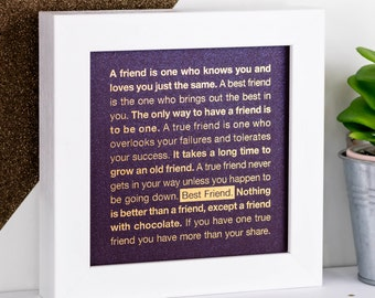 Framed Print; Gold Print; Best Friend Gift; Purple Print; Friendship Gift; Best Friend Art; Friends; Friendship Quotes; FMS021