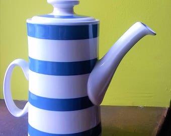 Cornishware coffee pot, vintage Staffordshire Chef Cordon Bleu Ironstone. Classic English blue and white striped pottery.