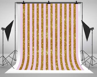 Pink and Gold Stripe Glitter Photography Backdrops Newborn Baby No Wrinkle Photo Backgrounds for Children Studio Props