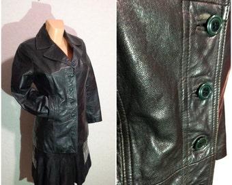 Black Leather Jacket Biker Moto Womens Spring Autumn Jacket Small Size