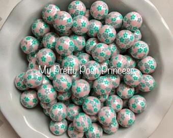20mm Pink & Turquoise Flower Pearls Chunky Bubble Gum Beads Set of 10