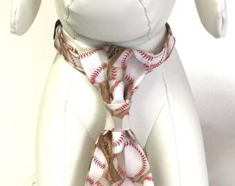 Dog neck tie, baseball neck tie, spring neck tie, red and white neck tie, puppy neck tie, pet neck tie, collar accessory, pet accessory