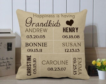 Custom Grandkids Pillow, Grandma Pillow Cover, Personalized Gift for Grandma, Grandma Birthday Gift, Gift for Grandma, Gift for Grandpa