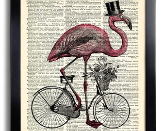 Flamingo Ride Bicycle Top Hat Bird Art Print on Dictionary Page,Funny Wall Decoration, Office Wall Art, Anniversary Gifts for Girlfriend 446
