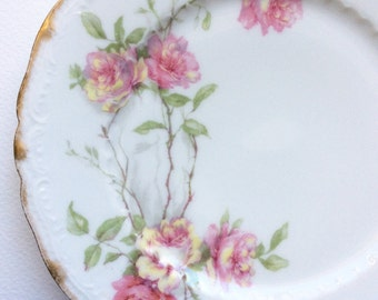 Haviland. Haviland Baltimore Rose plate. Schleiger 1151 by Haviland. Haviland, Limoges china. Limoges rose pattern. Haviland plate. Limoges